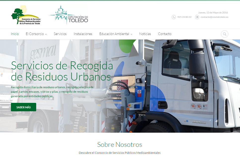 Portada de la Web del Consorcio Medioambiental de Toledo